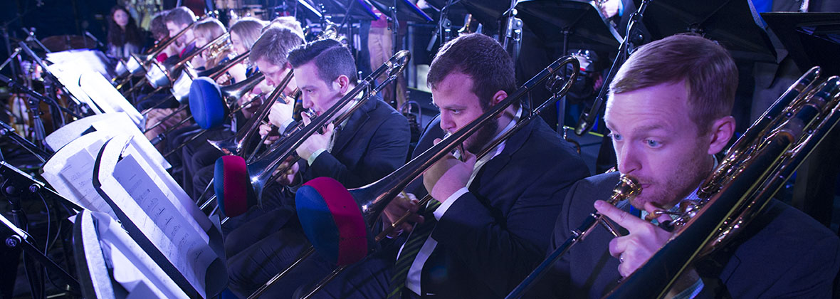 One O'Clock Lab Band trombones at the Generations in Jazz Festival in Australia