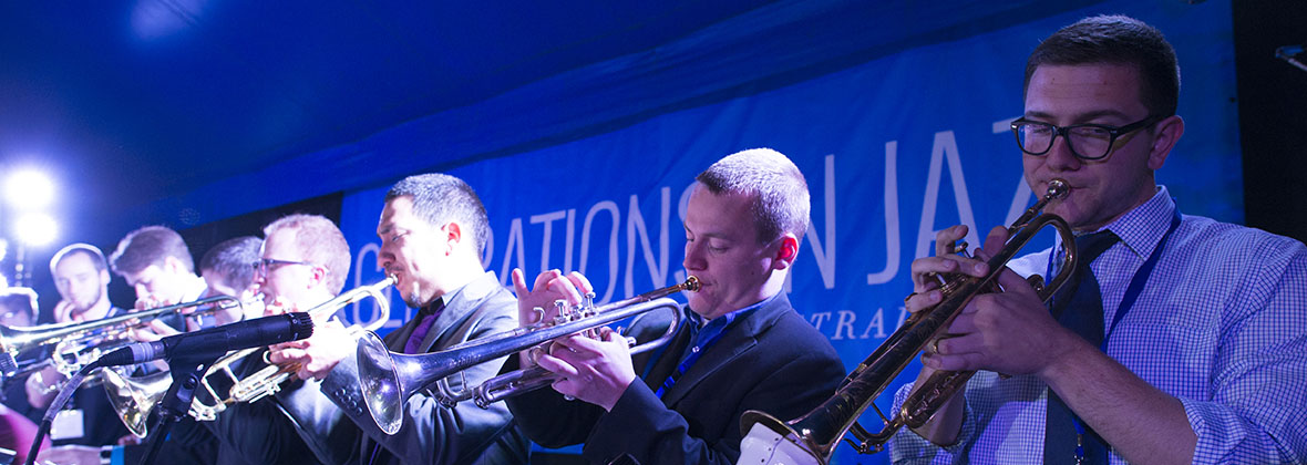 One O'Clock Lab Band trumpets at the Generations in Jazz Festival in Australia