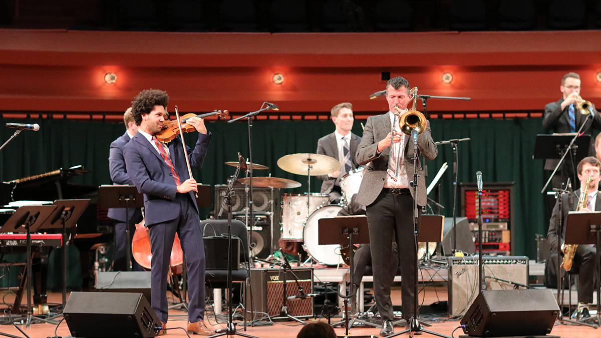 Scott Tixier, violin, Nick Finzer, trombone, with the One O'Clock Lab Band.