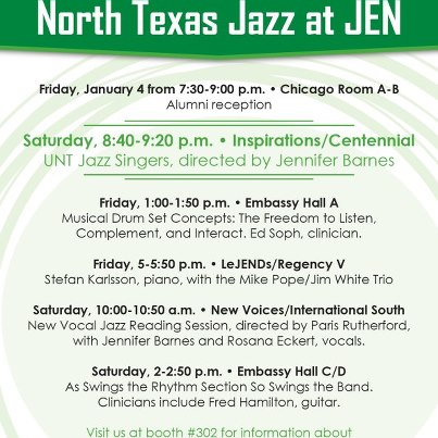 list of North Texas Jazz activities at the Jazz Education Network conference in Atlanta in January 2013