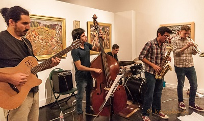 Pepe Valdez Quintet playing at UNT on the Square, an art gallery space