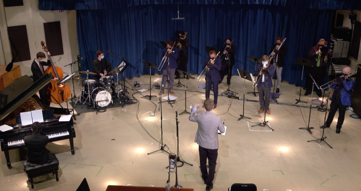 The U-Tubes Jazz Trombone Ensemble performing in Lab West